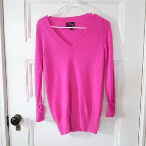 J Crew Neon Berry Pink Cashmere Pullover Sweater